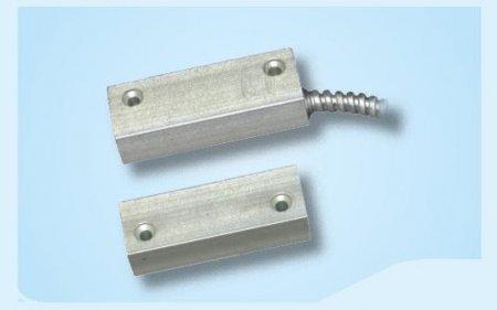 Contatto magnetico alluminio per porte metalliche con cavo protetto